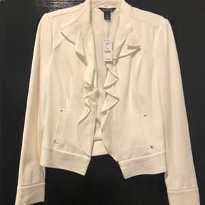 Never Worn White Jacket with Ruffle Colar